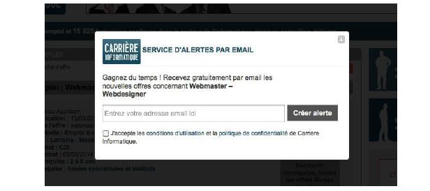 popup alerte mail